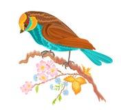 在枝杈野玫瑰果灌木的小鸟 免版税库存图片