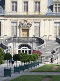 在枫丹白露宫,法国的马掌楼梯 免版税图库摄影