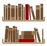 在架子的不同的红色书 免版税库存图片