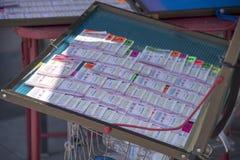 在架子的曼谷,泰国- 2018 4月14日,泰国彩票,泰国政府乐透纸牌 免版税库存图片