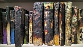 在架子的被烧的书 图库摄影