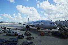 在柏油碎石地面的美国航空飞机在迈阿密国际机场 库存图片