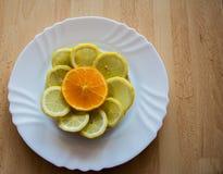 在柑橘切片的桔子在桌上 免版税图库摄影