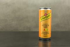 在柑橘混合味道- Schweppes品牌的碳酸化合的软饮料 免版税库存照片