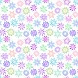 在柔和的淡色的光栅花卉样式在白色背景 设置多彩多姿的装饰花 向量例证
