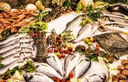 在柜台的新鲜的生海鲜在餐馆,黄色过滤器 库存照片