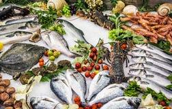 在柜台的新鲜的生海鲜在餐馆 免版税库存照片