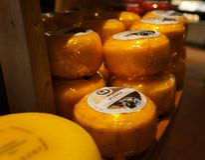 在柜台的著名荷兰干酪待售 库存照片