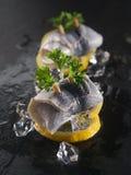 在柠檬切片和冰块的Rollmop鲱鱼 免版税库存照片