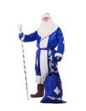 在查出的蓝色服装的父亲圣诞节 库存照片