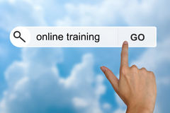 在查寻工具栏上的网上训练 库存图片