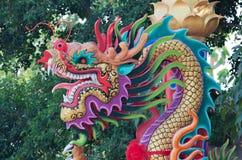 在柱子的五颜六色的龙雕象 免版税库存照片