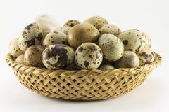 在柳条卵形形状的鹌鹑蛋 库存图片