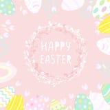 在柳条巢,在蓝色背景的贺卡的逗人喜爱的复活节彩蛋 墙纸,飞行物,网络设计,小册子,证件 免版税库存图片