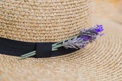 在柳条秸杆亚麻帽子的黑丝带插入的淡紫色 库存照片