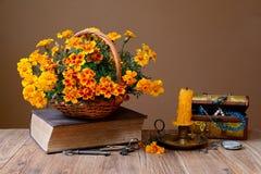 在柳条筐、书和首饰的花 库存照片