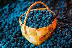 在柳条筐的新鲜水果有机莓果蓝莓 免版税库存图片