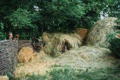 在柳条篱芭附近的草料棚在村庄 免版税库存图片