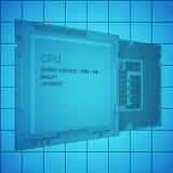 在栅格,黑概述, 3d的CPU bplueprint翻译 图库摄影
