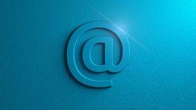 在标志的蓝色与在蓝色背景的火光 电子邮件 图象例证 3d翻译 免版税库存图片