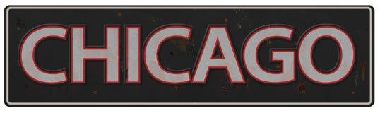 在标志街道老葡萄酒池氏上写字的芝加哥 库存例证