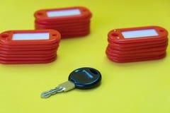 在标记中的黑钥匙的在黄色背景的钥匙 免版税库存照片