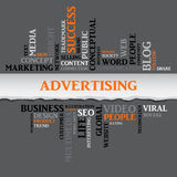 在标记云彩的广告概念相关词 向量例证