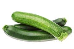 在栈的三棵蔬菜夏南瓜。 免版税库存图片