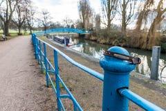 在栏杆的小狗衣领沿Nene河在北安普顿英国 免版税库存图片