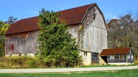 在树中的土气布朗谷仓 库存照片