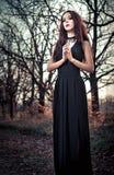 在树中的美丽的goth女孩 库存照片