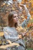 在树中站立一个女孩模型的画象,与一个h 免版税库存图片