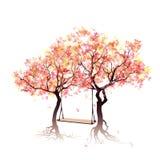 在树之间的摇摆 五颜六色的抽象树 免版税库存图片