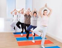 在树位置的人实践的瑜伽在健身房 库存照片