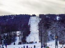 在树带界线西维吉尼亚的美好的冬天风景 图库摄影