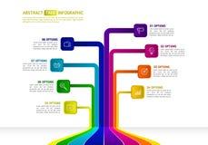 在树形状的抽象事务Infographics infographic的树 库存照片