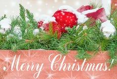 在树枝的圣诞节装饰在与生日题字的雪在一个木板, 免版税库存照片