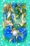 在树枝的圣诞节装饰在与生日题字的雪在一个木板, 免版税库存图片
