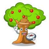 在树枝的探险家苹果字符 向量例证
