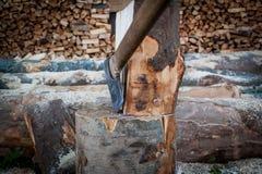 在树桩别住的轴,树,木柴裁减,为c做准备 库存照片