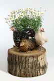 在树桩的三只母鸡 免版税库存图片
