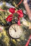 在树的分支的圣诞节时钟红色弓 免版税库存照片
