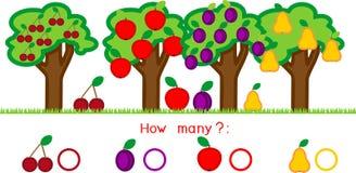 在树的多少不同的果子 计数用不同的果子的教育比赛 库存例证