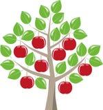 在树的收获成熟红色苹果 向量例证