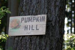在树的被遮蔽的南瓜小山标志 免版税库存图片