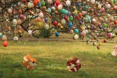 在树的被绘的复活节彩蛋 免版税库存图片