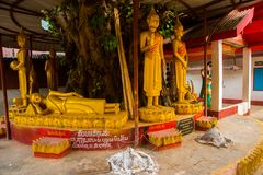 在树的金黄雕象Bubba 老挝, Muang崔 免版税库存照片