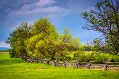 在树的暴风云和篱芭在葛底斯堡,宾夕法尼亚 免版税图库摄影