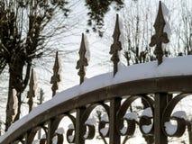 在树背景的伪造的篱芭  库存照片