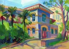 在树胶水彩画颜料的克里米亚半岛草图 图库摄影